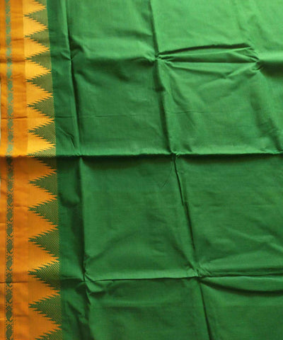 Dark green and mustard handwoven venkatagiri cotton saree