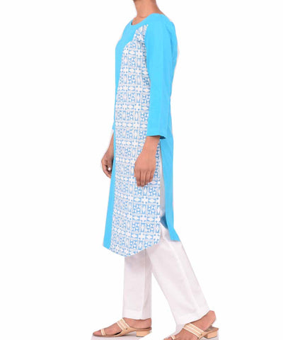 Sky Blue and White Handwoven Printed Kurti