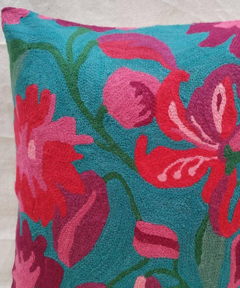 Hand embroidery sea green cotton woolen cushion cover