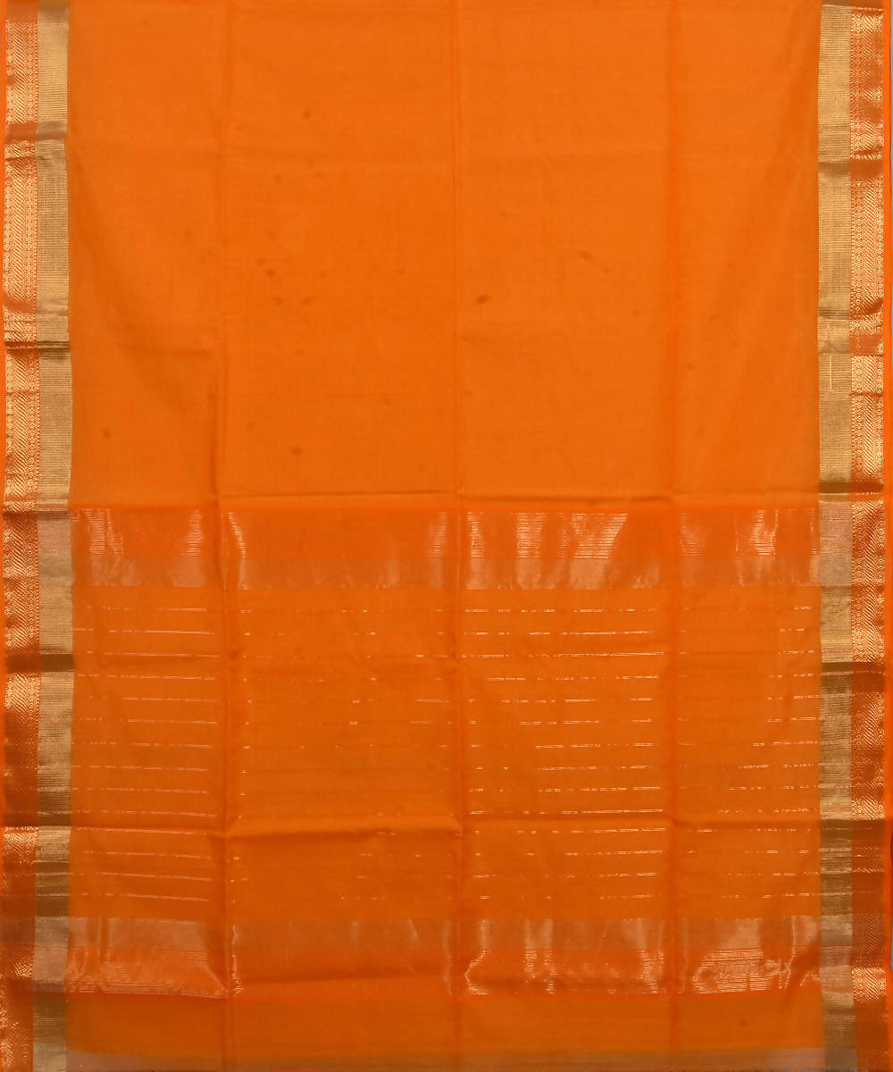 Handloom Orange Maheshwari Cotton Silk Saree