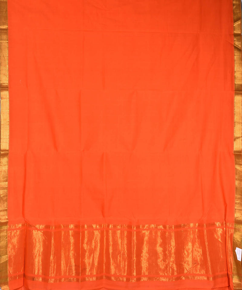 Orange handwoven mangalagiri cotton saree