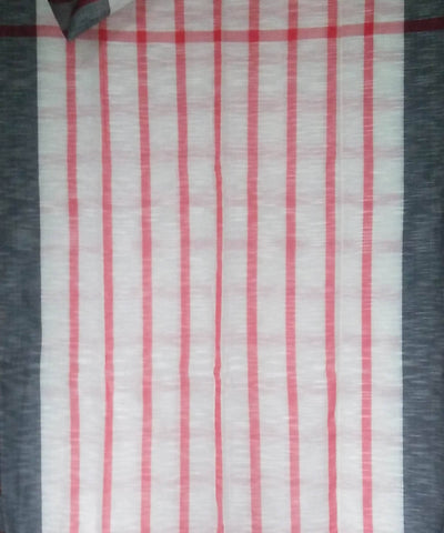 Bengal White Red Checks Handwoven Cotton Saree
