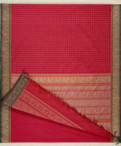 Pink and beige Handloom Kanchi thread work muttukattam cotton saree