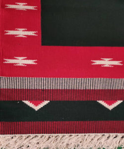 Red and Green Handwoven Interlock Cotton Dhurrie