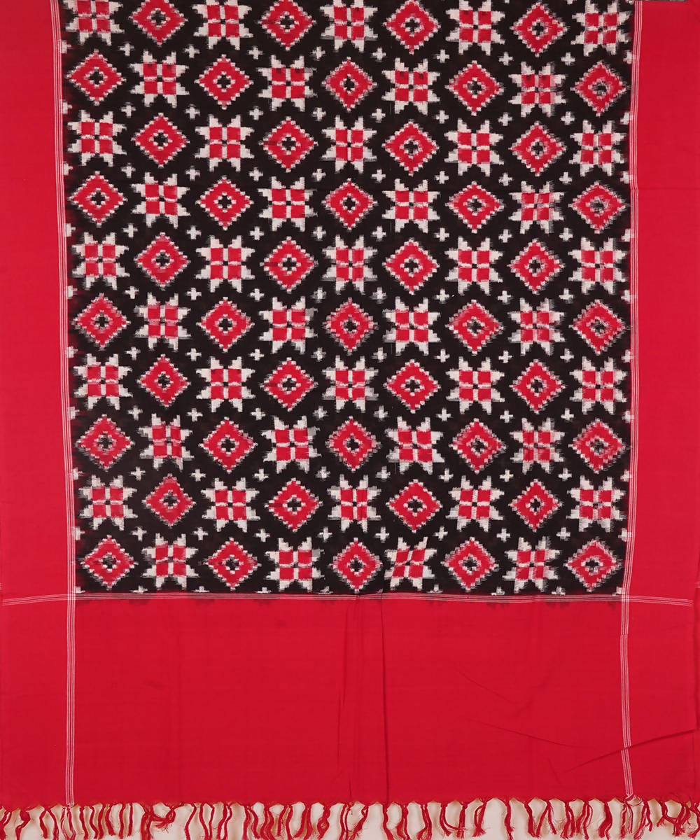 Red and Black Handwoven Teliya rumal ikat cotton Dupatta