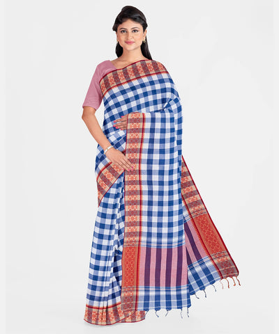 Biswa Bangla Handwoven Dhaniakhali Saree - Checkered White and Blue