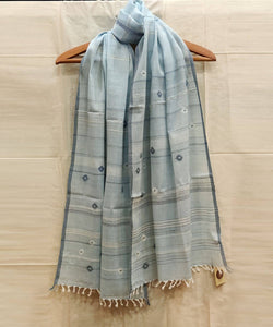 Light Blue Natural Dye Handwoven Jamdani Cotton Stole