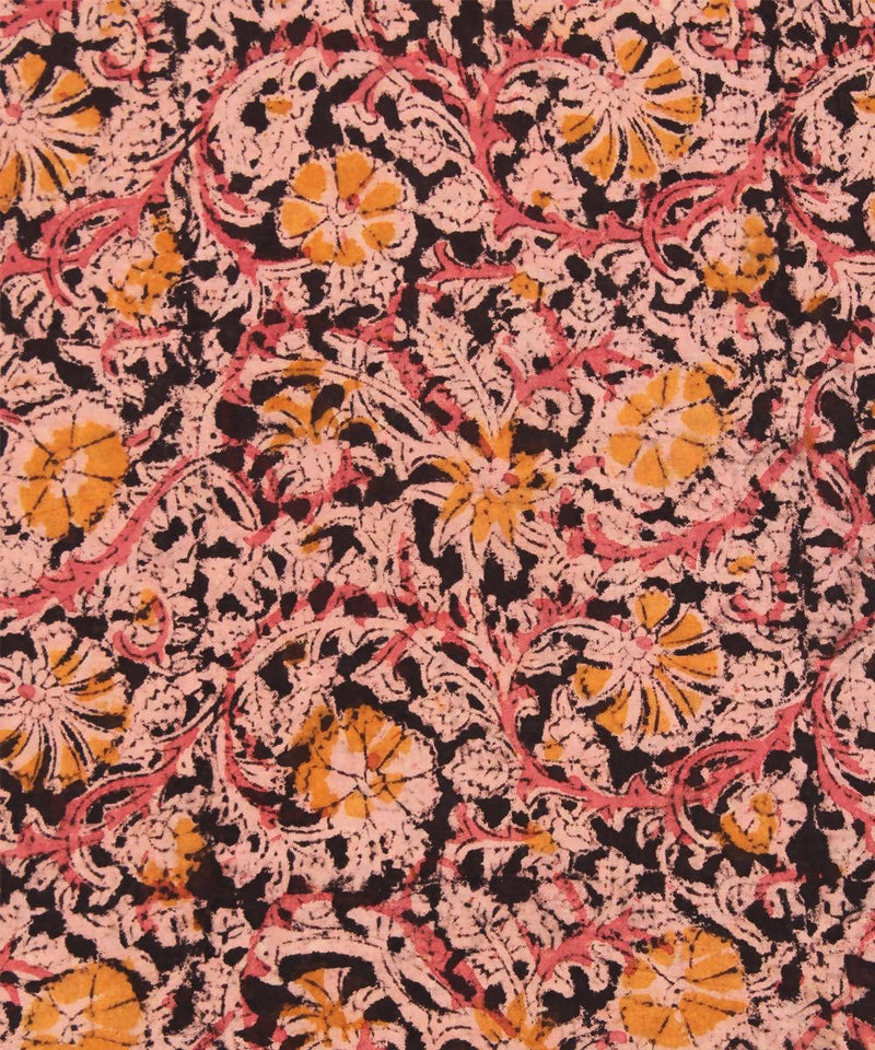 Handblock multi color kalamkari print fabric