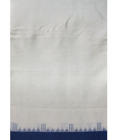 Traditional White and Blue Cotton Saree