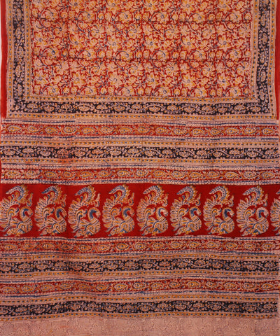 Red Hand Printed Kalamkari Cotton Saree