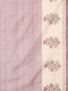 Light maroon block print cotton saree