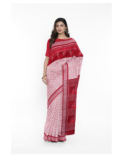 Off White Maroon Sambalpuri Cotton Ikat Saree