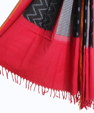 Handwoven Double Ikat Cotton Duppata In Black and Red Color