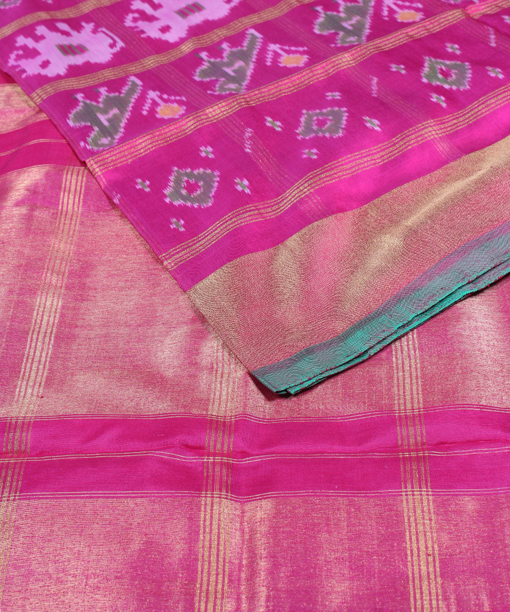 Handwoven Dark Pink Ikkat Silk Saree