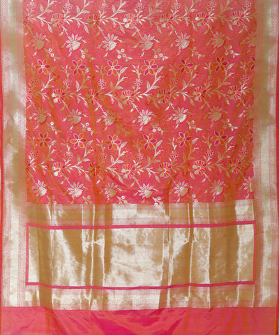 Punch pink handloom silk banarasi saree