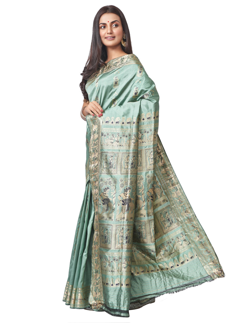 Biswa Bangla Handloom Baluchari Silk Saree - Steel Green