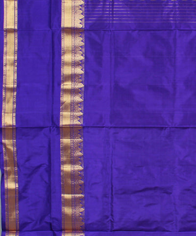 Orange Navy Khadi Handloom Silk Saree