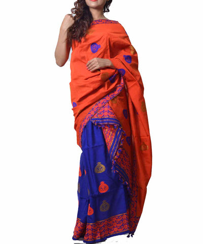 Orange and Blue Assamese Saree