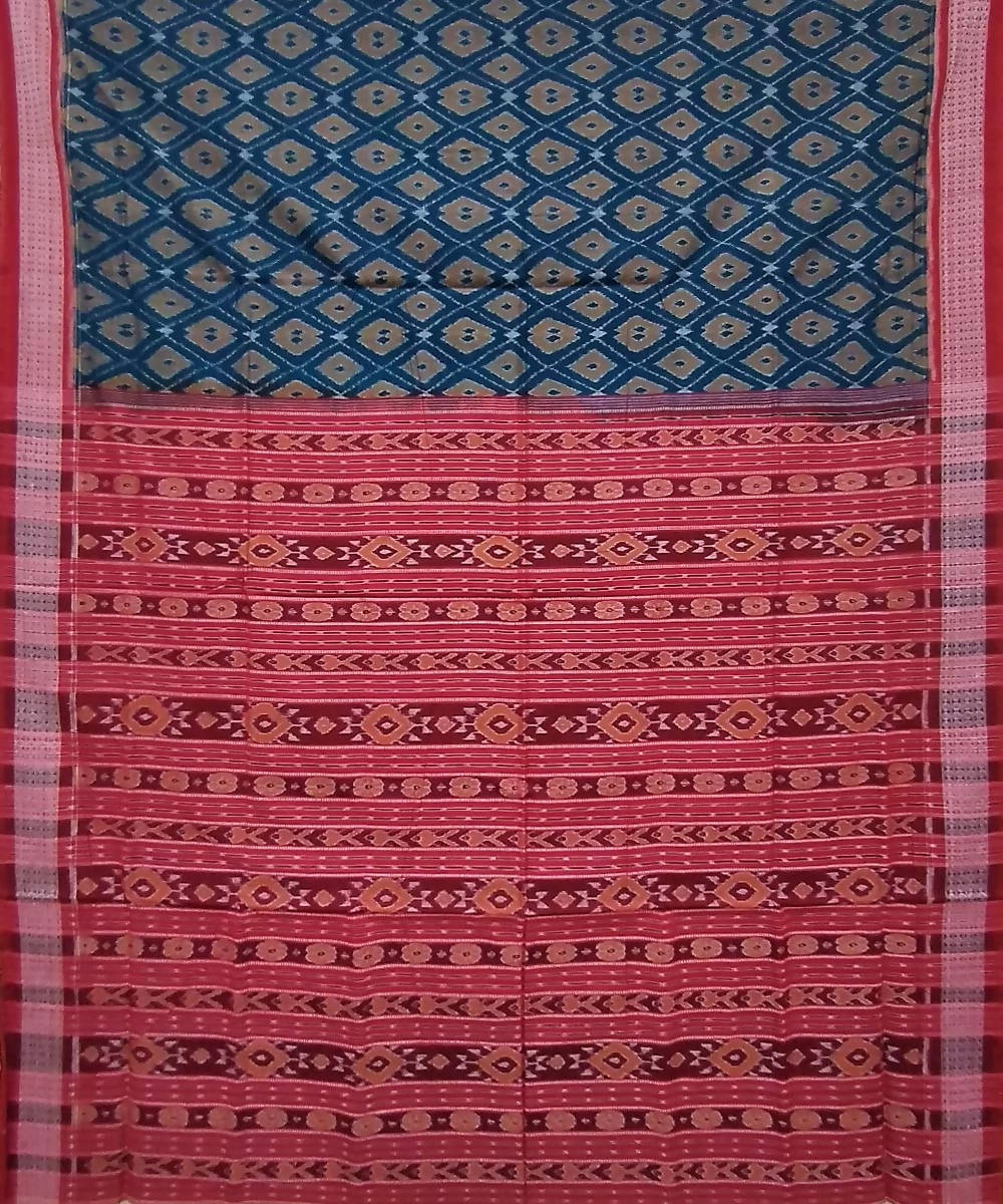 Multicolor red handwoven cotton sambalpuri saree
