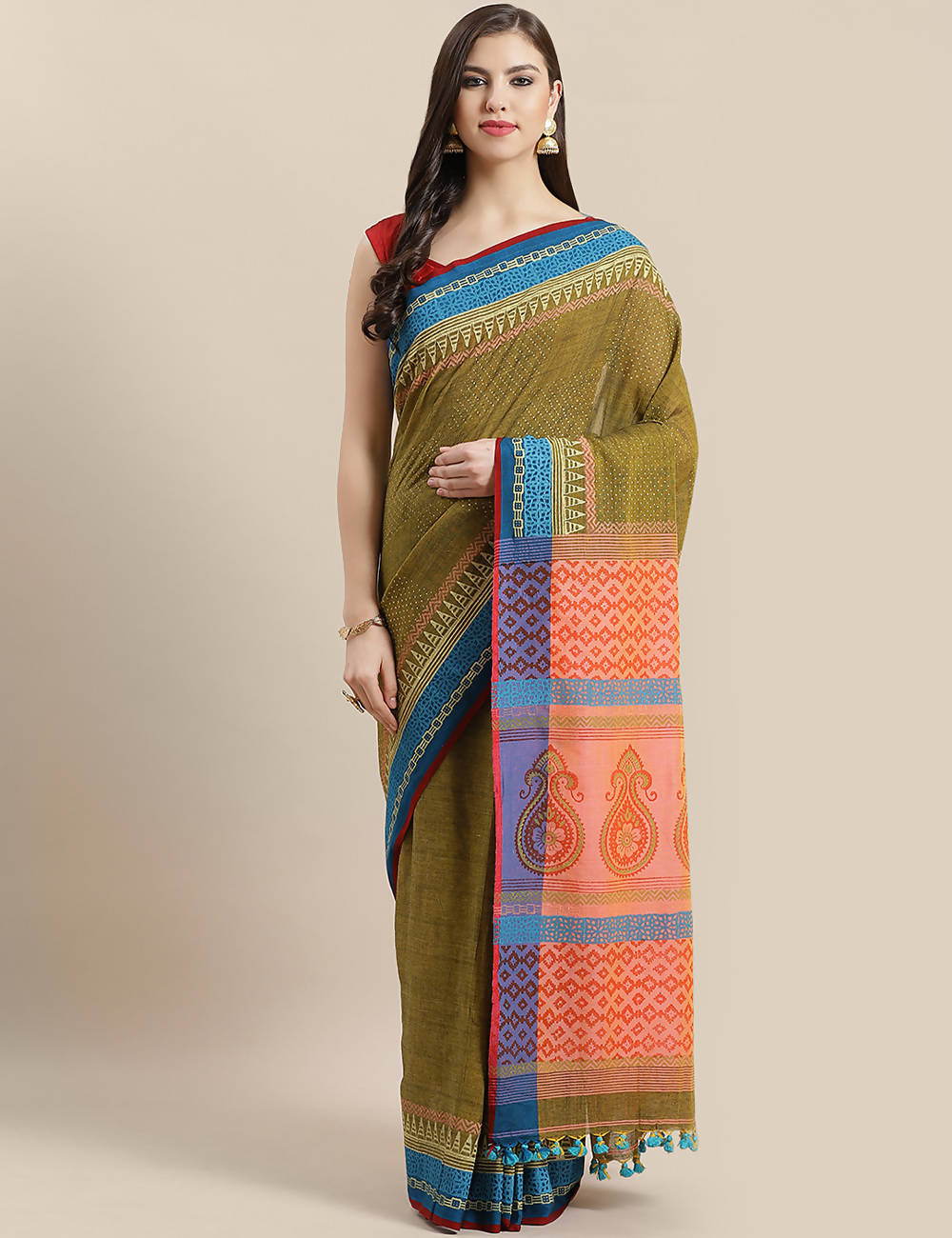 Olive peach handwoven hand block printed cotton saree