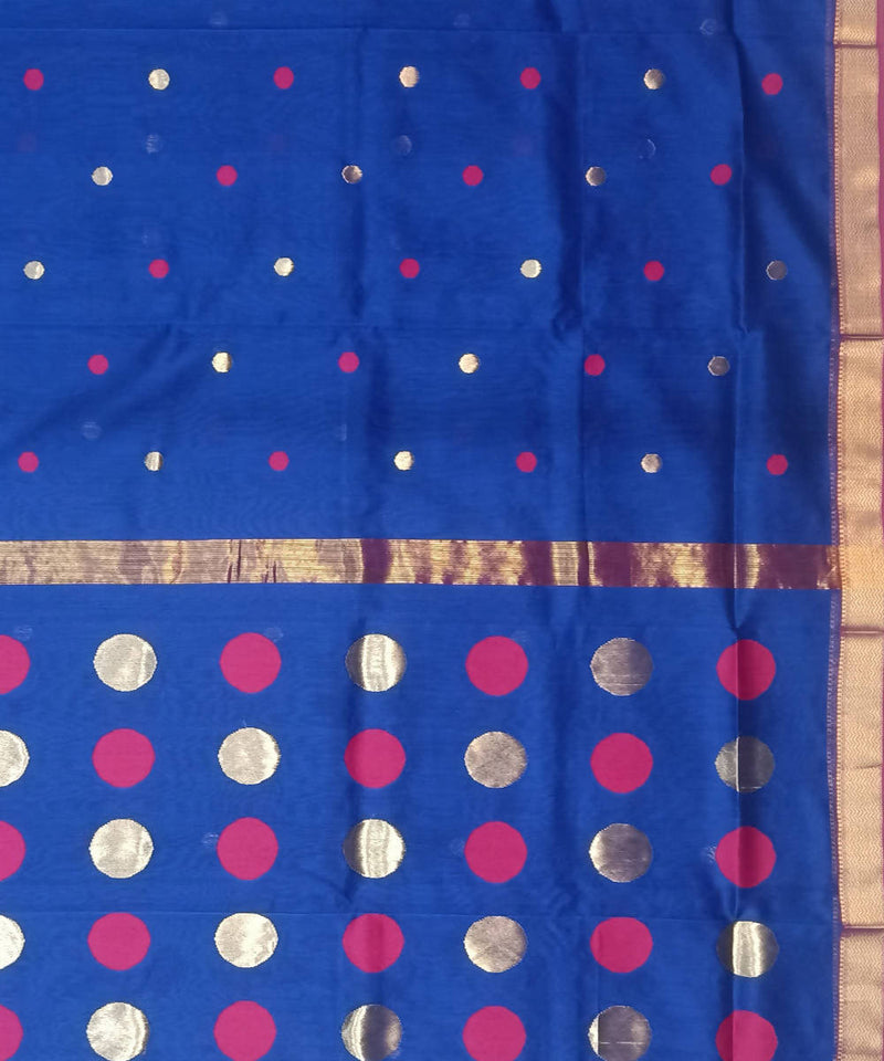 Maheshwari Handwoven Navy Blue Cotton Silk Saree