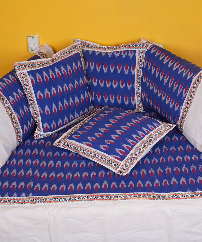 Ink blue Handloom Pochampally diwan set