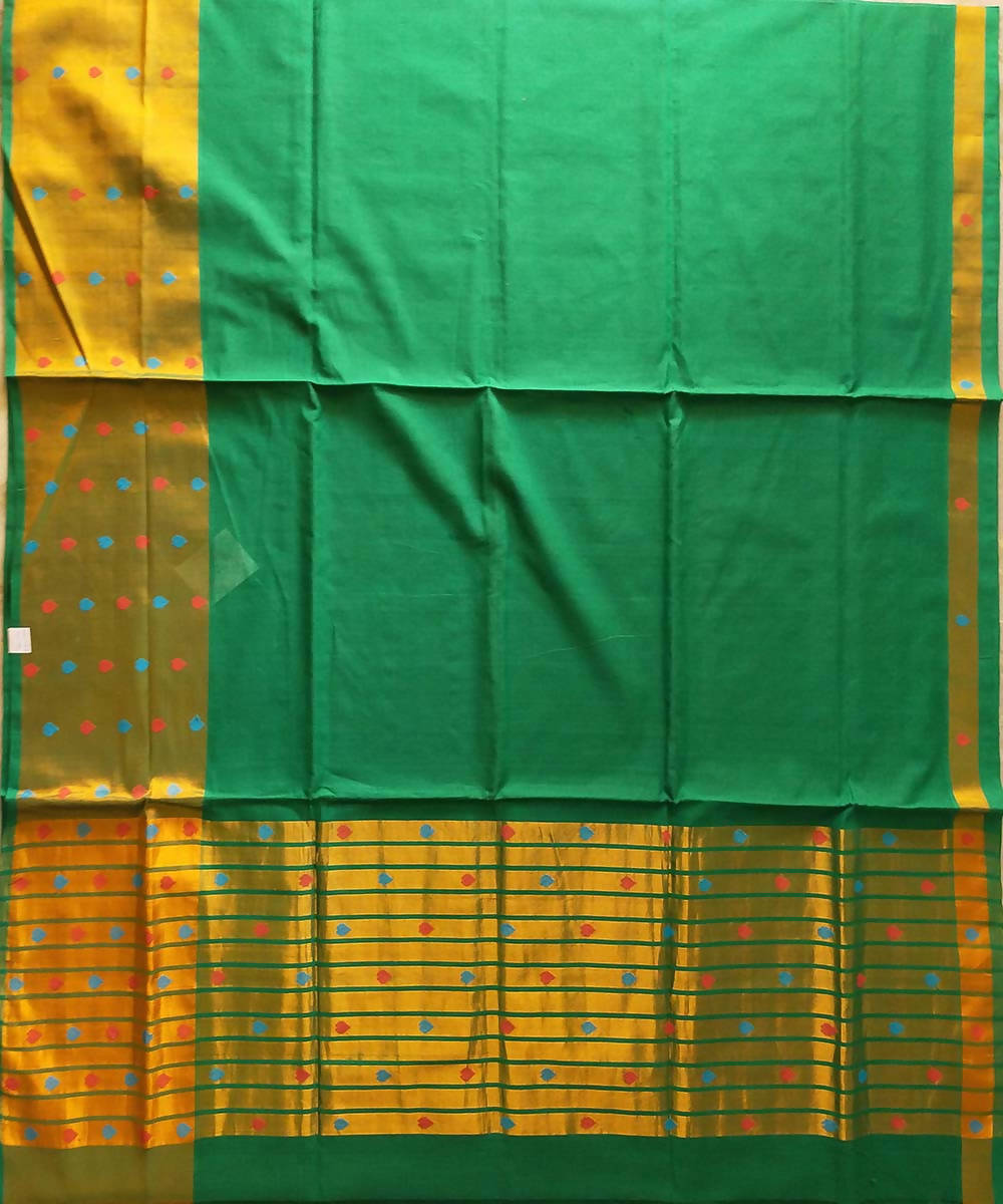 Venkatagiri green handwoven cotton saree