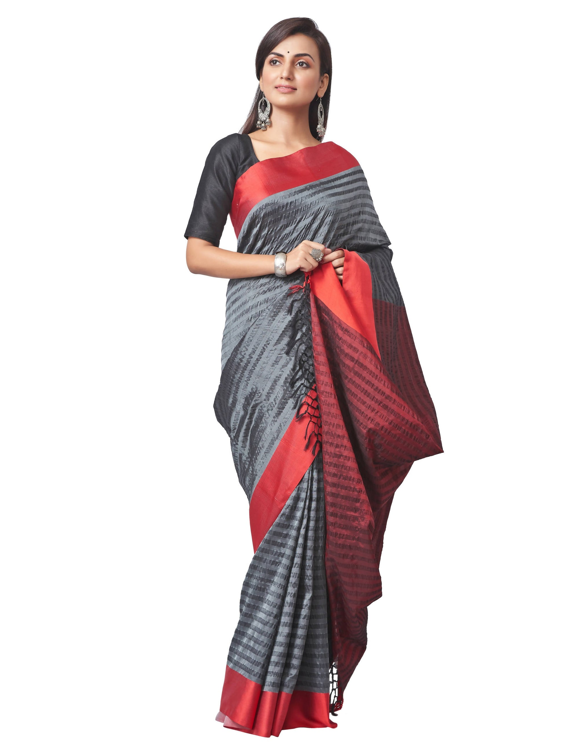 Biswa Bangla Handloom Seer Sucker Silk Saree - Grey & Red