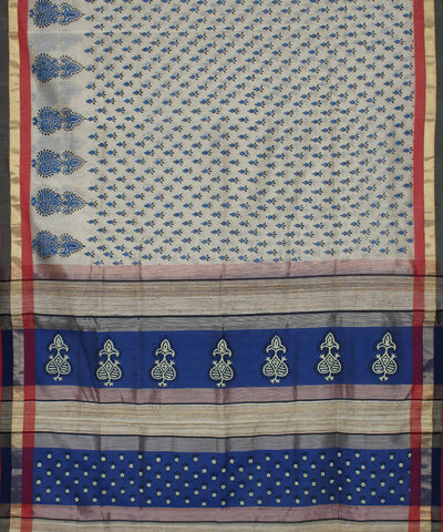 Off White Handblock Print Handloom Sico Saree