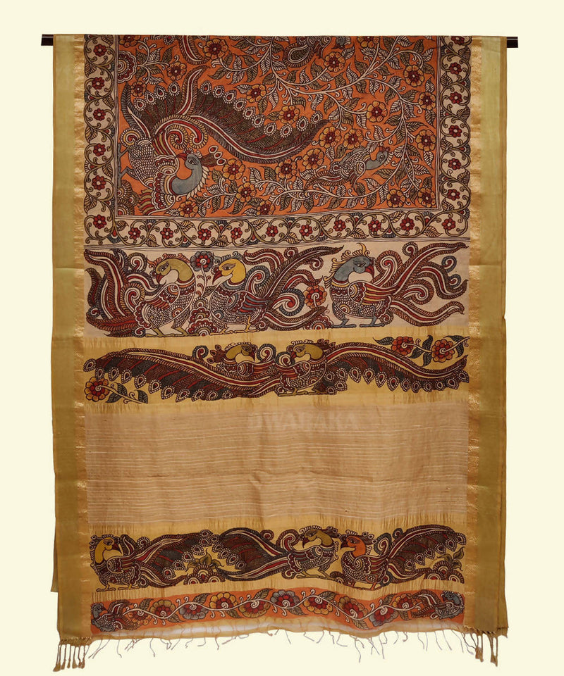 Orange hand painted kalamkari maheshwari cotton silk saree