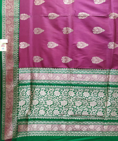 Banarasi mauve and green Handloom Katan Silk Saree