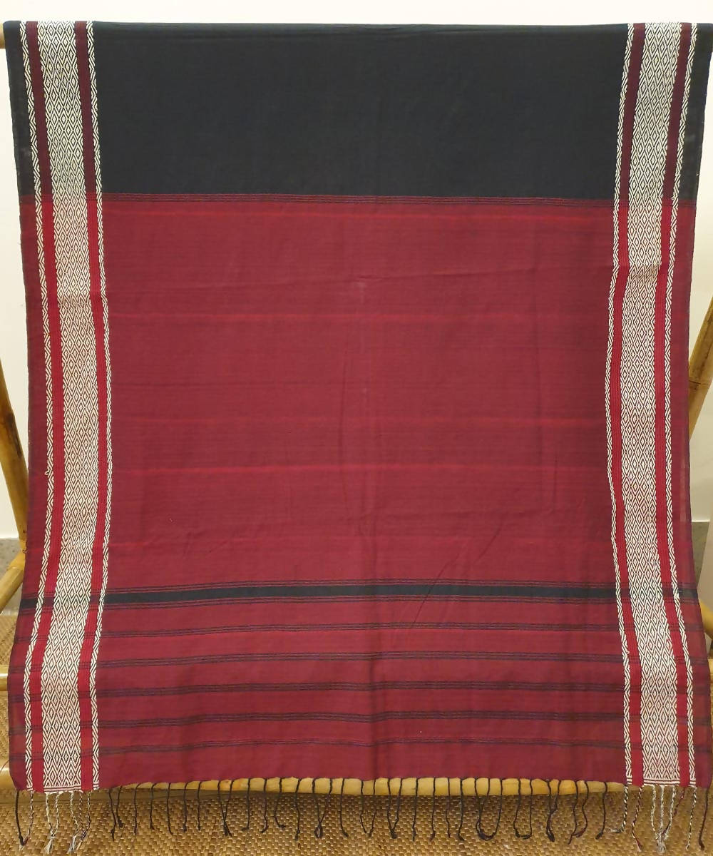 Black maroon handwoven bodo motif cotton assam saree