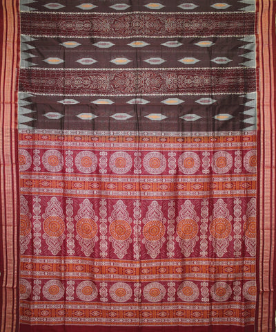 Handwoven Bomkai Cotton Saree in Coffee and Maroon