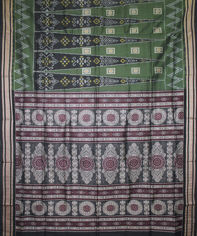 Handwoven Bomkai Cotton Saree in Green and Black