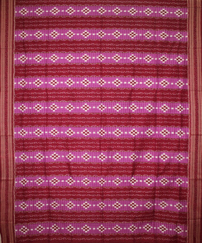 Handwoven Pasapalli Cotton Saree in Magenta and Maroon