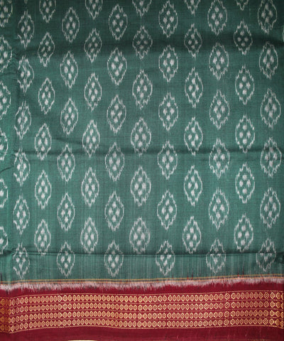 Handwoven Sambalpuri Ikat Cotton Saree in Green and Maroon