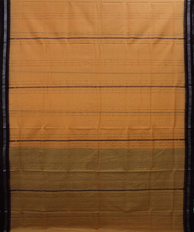 Handwoven Sambalpuri Ikat Cotton Saree in Deep Saffron and Maroon