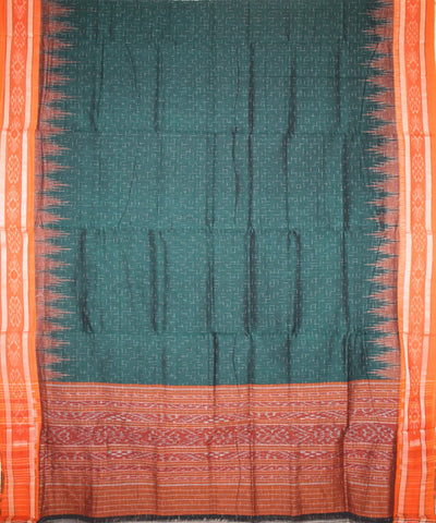 Handwoven Nuapatna Ikat Cotton Saree in Green and Orange