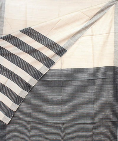 Off White Black Handloom Tussar Silk Saree