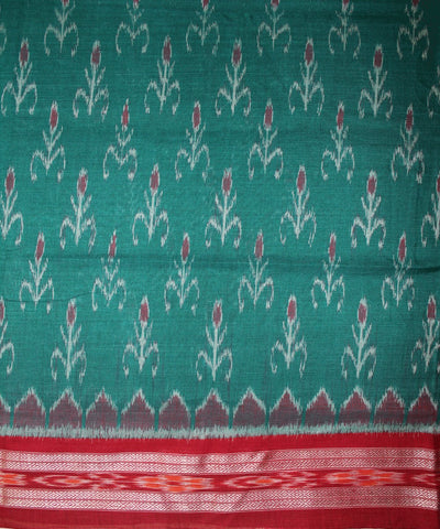 Handwoven Nuapatna Ikat Cotton Saree in Sea Green and Maroon