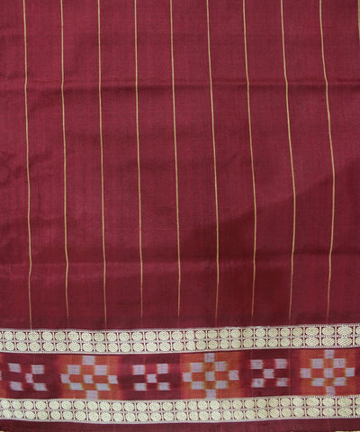 Handwoven Bomkai Silk Saree of Sonepur in Coffee and Maroon