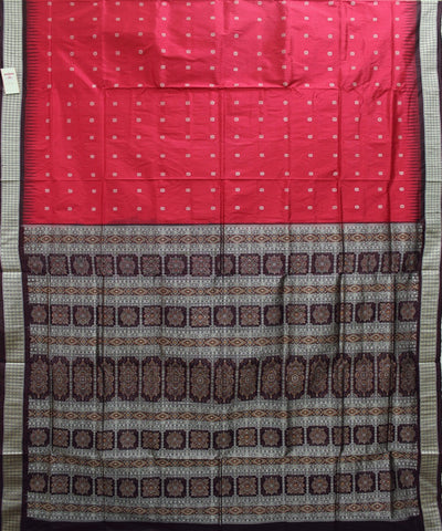 Handwoven Bomkai Silk Saree of Sonepur in Red and Coffee