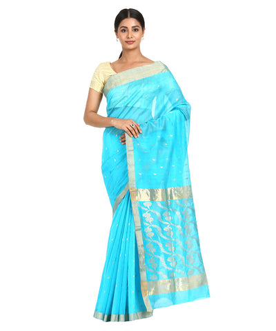Sky Blue Handwoven Chanderi Sico Saree