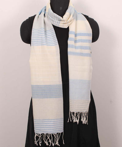 Handwoven Grey And Cream Cotton Stole