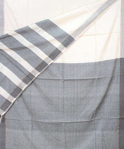 Off White Grey Handloom Tussar Silk Saree