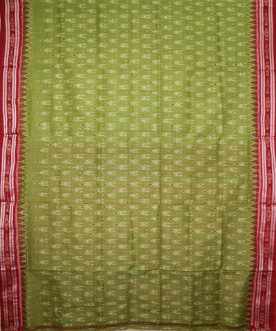 Handwoven Nuapatna Ikat Cotton Saree in Parrot Green and Maroon