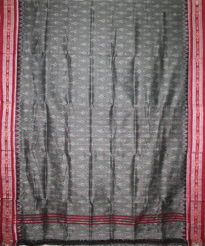 Handwoven Nuapatna Ikat Cotton Saree in Arsenic and Maroon