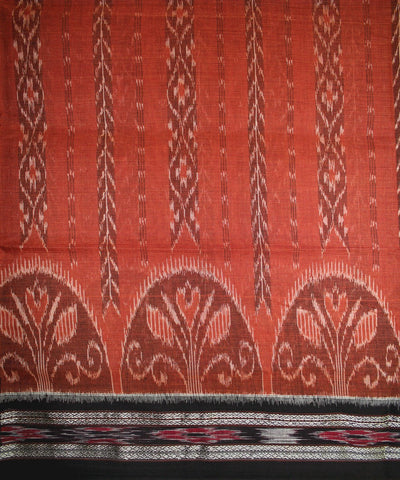 Handwoven Nuapatna Ikat Cotton Saree in Rust and Black