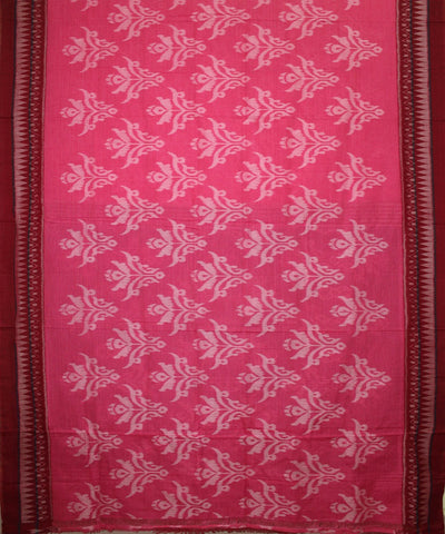 Handwoven Nuapatna Ikat Cotton Saree in Hot Pink and Maroon