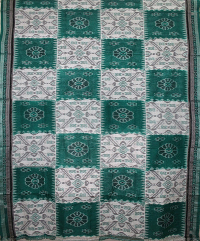 Handwoven Nuapatna Ikat Cotton Saree in White and Green
